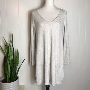 We The Free Ribbed Tunic Split Side Sweater Gray L